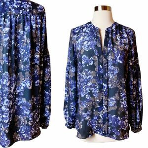 PARKER Floral Button Down Blouse Purple Blue M EUC
